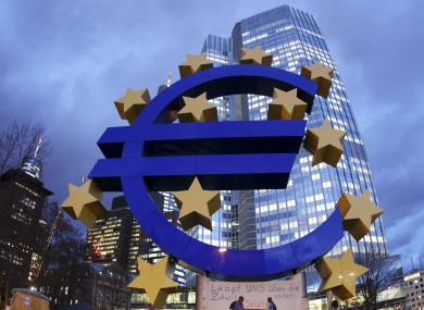 The Euro sculpture in front of the European Central Bank in Germany.