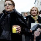 Mourners walk through the town before attending a Memorial Mass for Irish woman Jill Meagher at St Peter's Church, Drogheda, Co Louth.