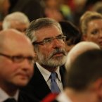 Sinn Fein president Gerry Adams in St.Peter's Church Drogheda for a memorial mass for Jill Meagher. Image: Julien Behal/PA Wire.