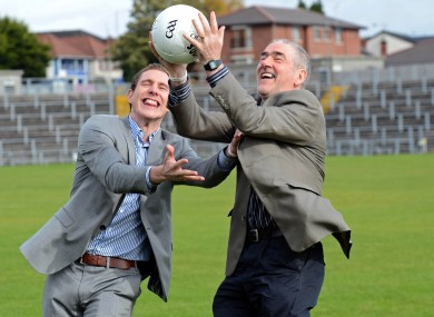 John McAreavey and Tyrone manager Mickey Harte at today's launch of a Match for Michaela.