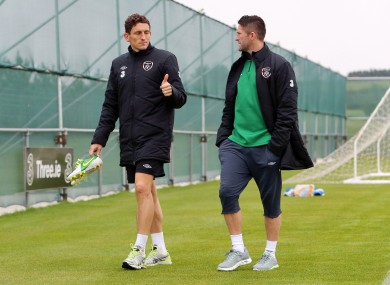 Keith Andrews and Robbie Keane who both sat out today's training session.