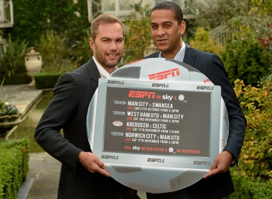 Two Amigos: Jason McAteer, left, and Phil Babb at an event to promote ESPN's coverage of the Barclays Premier League and the Clydesdale Bank SPL.