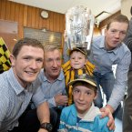 Paul Murphy, Rackard Cody and Walter Walsh with Luke Whitty, 6, and James Whitty, 9, from Graiguenamanagh, Co Kilkenny.