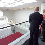 Higgins and his wife Sabina visiting the Crypt of General Bernardo O'Higgins. 