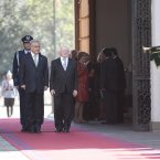 Higgins with Sebastian Pinera, President of the Republic of Chile arriving at the Palacio de la Moneda in Santiago.
