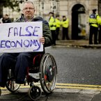 John Hancox from the County Cavan Access Association at the protest (Julien Behal/PA Wire)