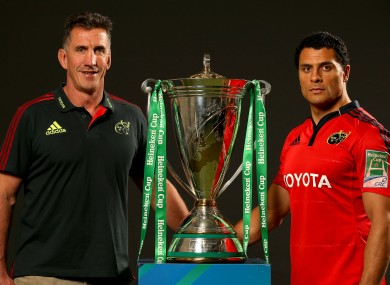 Rob Penney, Munster Head Coach, and skipper Doug Howlett with Heineken Cup trophy.
