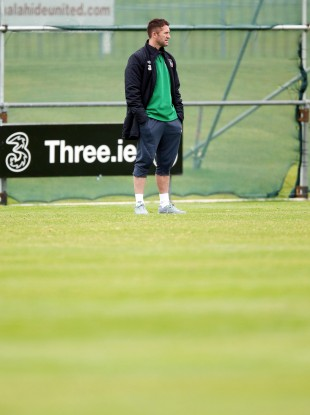 Robbie Keane watches training earlier.
