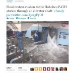 Superstorm Sandy hits the Hoboken PATH station (Pic: PANYNJ/Twitter)