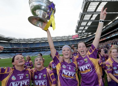 Wexford's Shelley Kehoe, Coleen Atkinson, Karen Atkinson and Deirdre Codd celebrate with the O'Duffy Cup after their All-Ireland triumph.