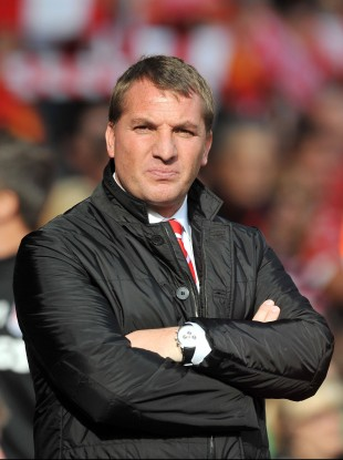 Brendan Rodgers on the sideline at Anfield yesterday.