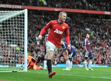 Manchester United's Wayne Rooney celebrates scoring his side's first goal of the game.