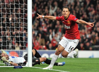 anchester United's Javier Hernandez celebrates scoring his second goal against Braga.