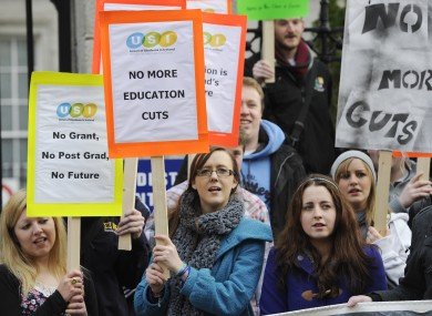 Students protesting against cuts to third-level grants earlier this year