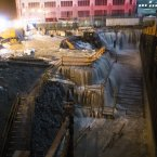 Sea water floods the Ground Zero construction site on Monday in New York. Sandy continued on its path Monday, as the storm forced the shutdown of mass transit, schools and financial markets, sending coastal residents fleeing, and threatening a dangerous mix of high winds and soaking rain. (AP Photo/ John Minchillo)