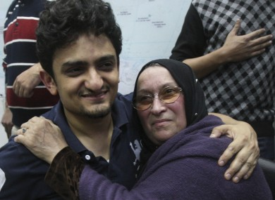 Ghonim with the mother of Khaled Said in Egypt in February 2012