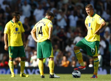 Norwich's Irish pair Wes Hoolahan (centre) and Anthony Pilkington (right).