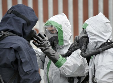 FILE: The Defence Forces conduct a Chemical Biological Radiological Nuclear (CBRN) Improvised Explosive Device Disposal (IEDD) exercise. 