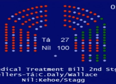 How the Dáil voted on the abortion bill, the light blue dots are the absent members.