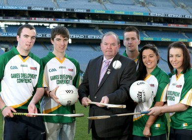 Liam O'Neill and Cillian O'Connor (centre) at the launch of the GAA Annual Games Development Conference Launch.