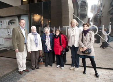 Ronan Tynan, Marian Finucane and Anne Daly with survivors of symphysiotomy outside the Lighthouse Cinema yesterday.