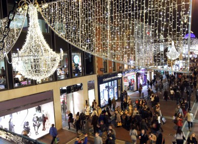 Christmas lights on Dublin's Grafton Street.