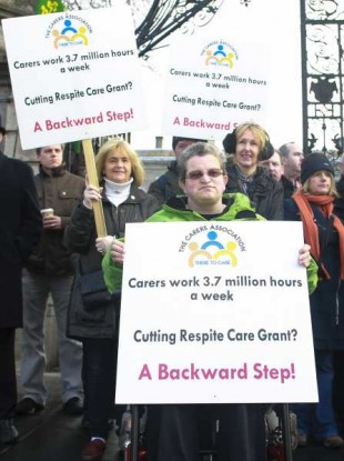 Carers protest the 19 per cent cut to the Respite Care Grant last Friday.