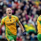 A sign of things to come. Donegal's Colm McFadden celebrates scoring his sides second goal against Derry along with Patrick McBrearty. (INPHO/Dan Sheridan).