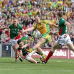 Strike Two. Colm McFadden fires home another goal in the 12th minute. Donegal are flying, Mayo are reeling. (INPHO/Morgan Treacy).