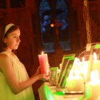 Light bearer Ali Kenny (age 13) at the Christmas Celebration of Light organised by national suicide prevention and bereavement charity Console. 