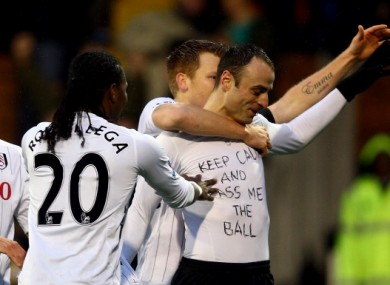 Dimitar Berbatov of Fulham celebrates his goal during the Premier League match yesterday.