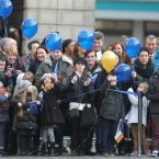 School children launch 40 balloons at Dublin Castle. Image: Niall Carson/PA Wire