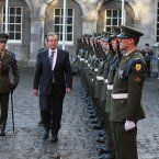 Taoiseach Enda Kenny reviews a guard of honour. Image: Niall Carson/PA Wire