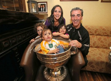 Manager Jim McGuinness with his wife Yvonne and kids the morning after Donegal's win last September.