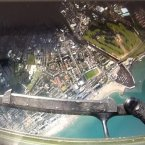 View from an Army Parachutist as he prepares to jump into the Bray Airshow from an Air Corps helicopter, July 2012.