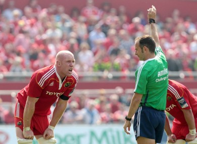 Paul O'Connell absorbs a Poite decision in 2011.