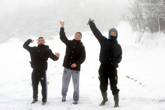21/01/2013. Snow. (from left) Lee Devery, Conor Du