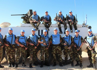 Members of the 107 IrishFinn Battalion from Cork, who are in Lebanon