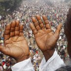 A Bangladeshi Muslim prays during the last day of the three-day Islamic Congregationn on the banks of the River Turag in Tongi, on the outskirts of Dhaka, Bangladesh, Sunday, Jan. 13, 2013. The gathering, held each year since 1966, aims to revive the tenets of Islam and promote peace through prayer. (AP Photo/Pavel Rahman)