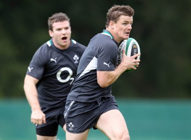 Gordon D'Arcy and Brian O'Driscoll in training.
