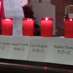 Candles in honor of victims of homicide in Camden, New Jersey burn during a vigil at Cathedral of the Immaculate Conception. In the annual vigil, an hour is dedicated to remembering each homicide victim. The city of 77,000 had a record 67 homicides in 2012. (AP Photo/Geoff Mulvihill)