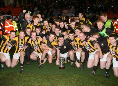 Crossmaglen Rangers players celebrating after their Ulster final win in December.