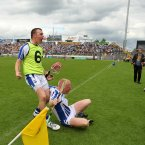 Mullane and teammate Eoin Kelly controversially celebrate in front of the Clare dugout after the final whistle.