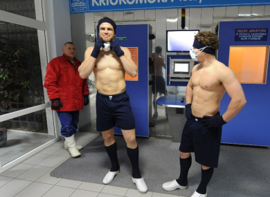 Welsh centre Jamie Roberts at a Polish cryo-chamber.