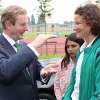 Meeting Olympic silver medallist and Irish running legend Sonia O'Sullivan. Pic: Julien Behal/PA Wire