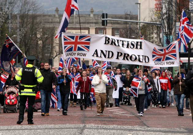 Loyalist protesters converge on Belfast city hall