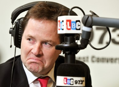 Nick Clegg on LBC radio in London today