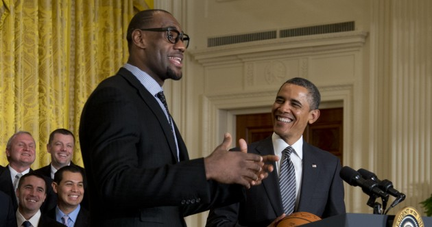 LeBron James wore his best hipster glasses to meet Obama in the White House