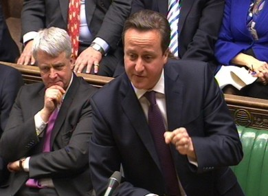 Prime Minister David Cameron speaks during Prime Minister's Questions in the House of Commons today.