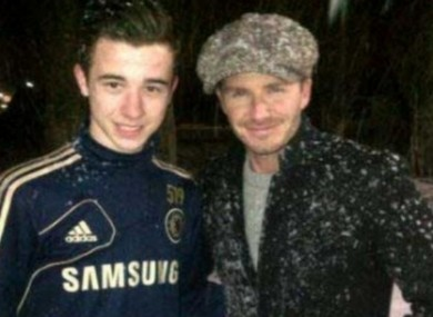 Beckham at the Cobham facility yesterday.